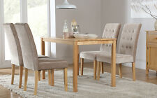 Milton & Regent Oak Dining Table and 4 6 Fabric Chairs Set (Mink)