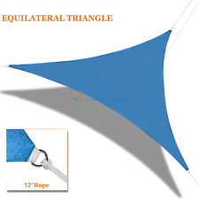 Blue Sun Shade Sail Permeable Right Triangle Canopy Lawn Patio Pool Awning Top