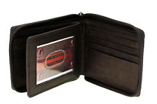 Mens Wallet Bifold Genuine Leather Zipper Closed Center Flap Extra Capacity New