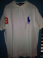 Polo Ralph Lauren Custom Fit Big Pony #3 Shirt in White with Royal Blue Big Pony