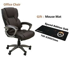 Brown PU Leather High Back Office Chair Executive Computer Desk With Gift