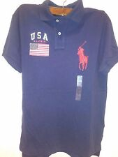 Polo Ralph Lauren Custom Fit USA Flag Big Pony Navy Blue Polo Shirt