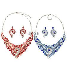 Women Crystal Colorful Floral Rhinestone Necklace and Earring Set Bridal Jewelry