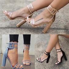 Women High Chunky Heels Strap Ankle Sandals Cute Open Toe  Buckle Pumps Shoes