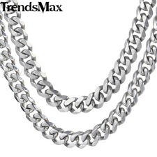 14.5mm Mens Chain 316L Stainless Steel Silver Necklace Cut Curb Cuban Link