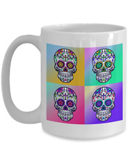 Pop Art Style Ceramic Coffee Mug: Day of the Dead Sugar Skull