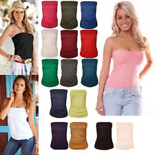 New Ladies Womens Ruched Plain Strapless Sleeveless Boob Tube Bandeau Top 8-22