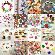 17 Styles DIY 2 Holes mix sizes wood Buttons Scrapbooking Sewing Craft butterfly