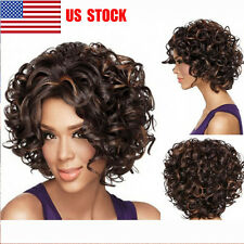 US Women Black Heat Resistant Synthetic Short Curly Front None Lace  Hair Wigs