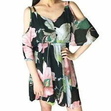 New Style Chiffon Fabric V-neck Spaghetti Strap Floral Pattern Dress for Women