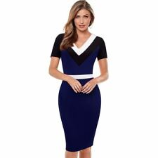 V-Neck Short Sleeves Vintage Dark Blue Color Sheath Pencil Dress For Women