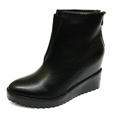 LADIES BLACK WEDGE ZIP-UP ANKLE CALF COMFY SMART WORK PLATFORM BOOTS SHOES 3-8