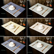 PVC Placemats Stripe Bowl Kitchen Dining Room Pad Western Table Mats Sales