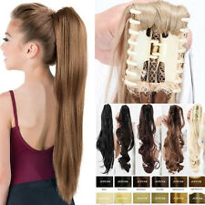 Thick Layered Ponytail Claw Clip in on Hair Extensions Straight Curly Wavy Ax8