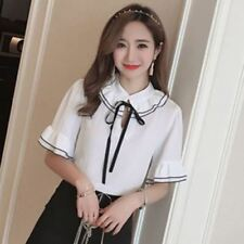 Peter Pan Collar Ruffle Decorated Chiffon Material Blouse For Women