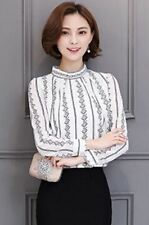 Stand Collar Geometric Pattern Long Sleeve Casual Blouse For Women