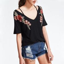 Women New Casual V Neck Rose Floral Embroidery Loose Casual Blouse