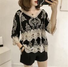Women Fashion Lace V-neck Three Quarter Sleeve Vintage Embroidery Blouse