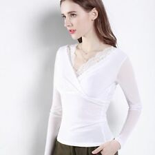 2 Color Autumn Spring New Fashion Long Sleeve V Neck T-shirt For Women