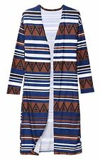 Striped Pattern Open Stitch Long Sleeve Casual Cardigan For Women