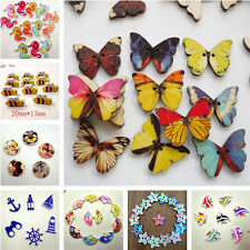 Wood Buttons Scrapbooking Sewing Craft kids DIY 17 Styles mixed sizes butterfly