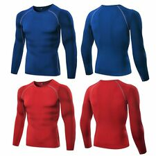 Gym Men's Long Sleeve Sports T-Shirt Compression Base Layer Tight Top Running