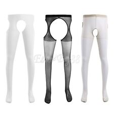 Men's See Through Mesh Tights Pantyhose Stretch Stocking Front Open Underwear
