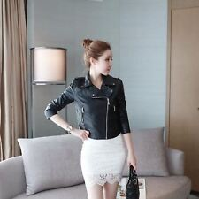 Winter Pink Color Pu Leather Material Turn-down Collar Jacket for Women