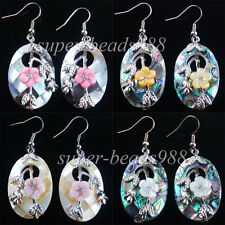 New Zealand Abalone Shell Oval Beads Dangle Earrings 1Pair Jewelry SBR057