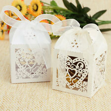 25x Sweet Heart Laser Cut Gift Candy Boxes w Ribbon Wedding Party Favor 5*5*7cm