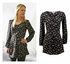 Pretty Black Pink Ditsy Floral Design Tunic Blouse