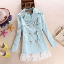 Autumn Fashion Women Double-breasted Casual Wear Slim Fit Lace Trench Coat