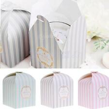 50x Blue/Pink Stripes Candy Lolly Box Wedding Party Favor Gift Bakery Cookie Bag