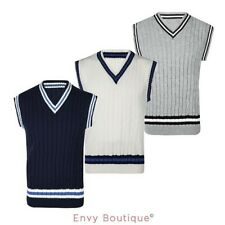 MENS CLASSIC CRICKET CABLE KNITTED TANK TOP V NECK SLEEVELESS STRIPE VEST S-XL