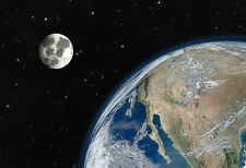 Earth And The Moon - Space Poster - Space Print - Space Photo Art - Planet Print
