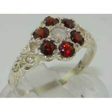 Victorian Ladies Solid 925 Sterling Silver Natural Fiery Opal Garnet Daisy Ring