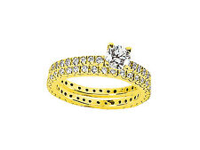 1.10Ct Round Cut Diamond Engagement Ring Wedding Band Set Solid 18k Gold G SI1