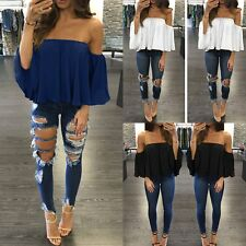 Women Sexy Off Shoulder Boat Neck Ruffle Shirt Summer Casual Blouse Loose Tops