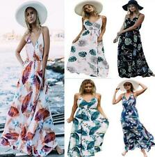 Boho Hippie Women Strappy Floral Printed Pleated Beach Holiday Long Maxi Dress