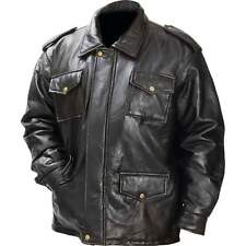 Mens  Genuine Leather Black  Field Jacket Fully Lined Snaps
