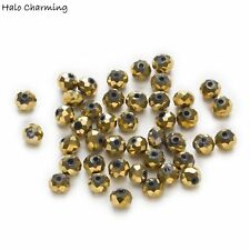 50 Piece Plating Gold Crystal Glass Faceted Beads DIY Jewelry Findings 4-8mm