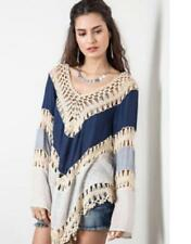 DENIM BLUE Knit Crochet Mix Bohemian Hippie Long Tunic Top Hollow Out Candy Free