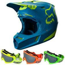 FOX V3 MOTH Limited Edition Motocross Helmet 17 teal blue+MX-Bude MX-2 Brill
