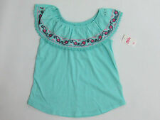 NWT Justice Kids Girls Size 8 10 12 or 14 Blue Embroidered Ruffle Shirt Top