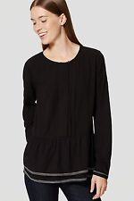 NWT ANN TAYLOR LOFT Black Long Sleeves Pintucked Peplum Blouse XS, S