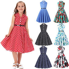 Child Girl Retro Vintage Sleeveless Lapel Swing Party Printed Dress Skater 6-12Y