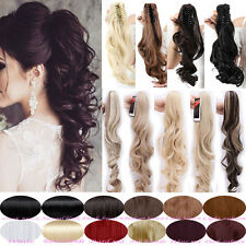 Strong Thick CLAW CLIP On Ponytail Clip in Hair Extensions Straight Curly AN32