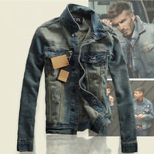 New Men's Slim Fit Classic Retro Thicken Coat Jean Denim Jacket Lapel Outerwear