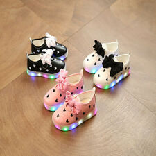 Baby Girls Flashing LED Shoes Kids Luminous Colorful Children Bow-tie Shoes
