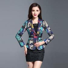 Fashion Womens Slim Fit One Button Blazer new Coat Floral Print Lapel OL Jackets